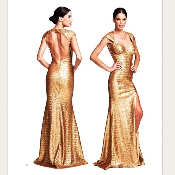 076d806755350 Nicole Bakti Gold Sequin Gown Dress FLASH SALE
